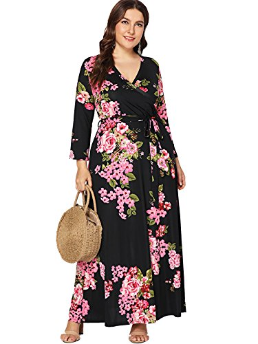 0f992b92f7 Milumia Plus Size Summer Floral Printed Wrap V Neck Maxi Dress Party Black  Empire Waisted Dress